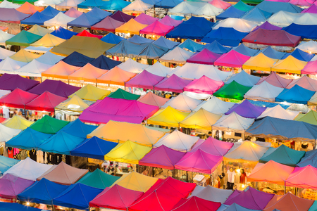 Multiple colours night market roof top, background Stock Photo