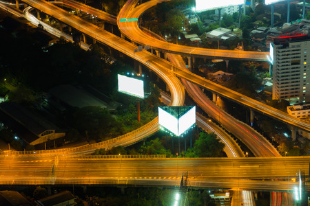 interchanged: Highway overpass interchanged night view, long exposure