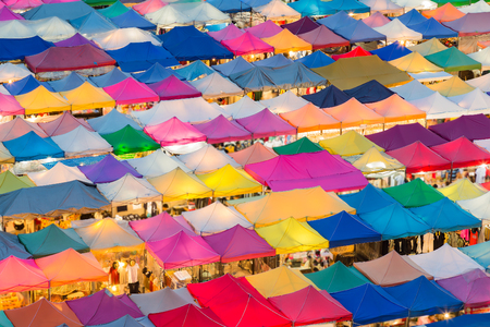 Night Market Bangkok and Colourful beautiful in Thailand, aerial view