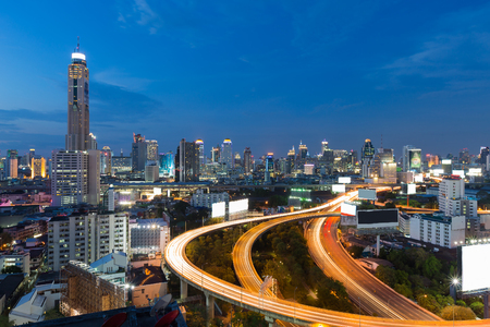 interchanged: Twilight sky background, city downtown and highway interchanged, long exposure, Bangkok Thailand
