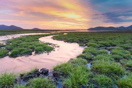 bakground: Natural small waterway with beautiful sunset sky bakground Stock Photo