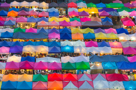 Multiple colour night market roof top, Bangkok Thailand Stock Photo