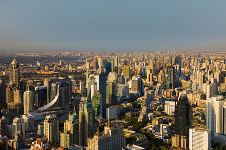 City downtown aerial view, Bangkok Thailand during sunset