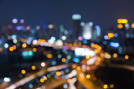Night blurred lights city highway interchanged, abstract background Stock Photo