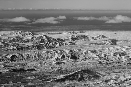 Black and White, Top view, winter season mountain skyline, Iceland natural landscape background
