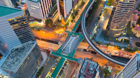 interchanged: City road interchanged top view, Bangkok city downtown