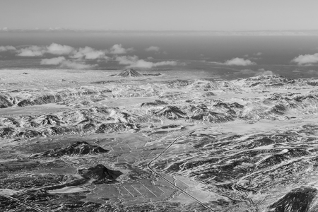 Black and White, aerial view snow mountain, Iceland natural winter landscape background