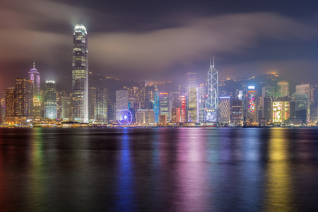 highriser: Hong Kong island form Kowlon point of view at night