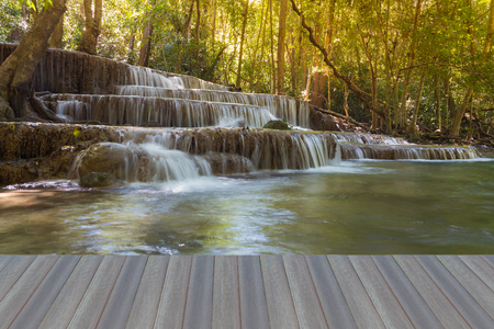 tat: Opening wooden floor, Natural waterfalls in deep forest national park