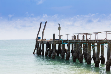 hatteras: Fishing jetty leading to the sea, natural skyline background