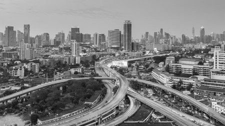Black and White, Bangkok city business downtown with highway intersection background, Thailand Stock Photo