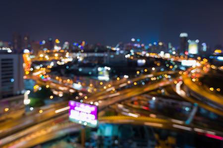 interchanged: Blurred lights city highway overpass interchanged night view Stock Photo