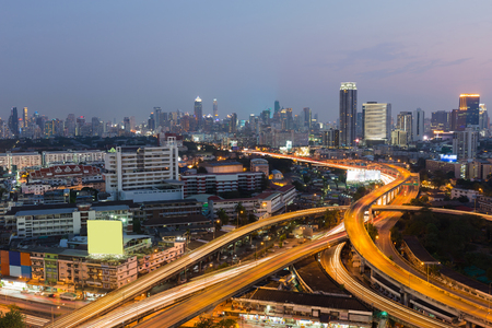 Bangkok Highway interchanged with city downtown background, Thailand