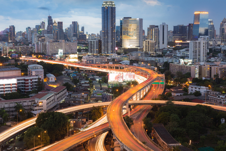 interchanged: City downtown background and highway interchanged, Bangkok Thailand
