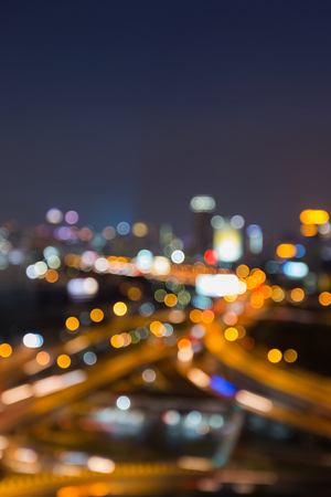 interchanged: Night blurred lights city highway overpass interchanged, abstract background