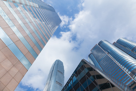 Hong Kong Modern Office building with blue sky background