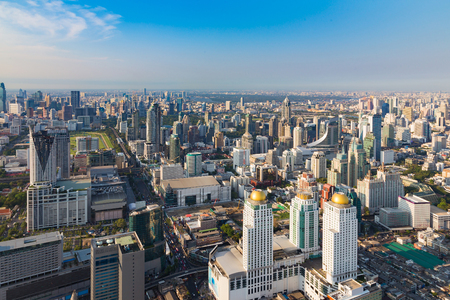 Aerial view, Bankok city central business downtown skyline