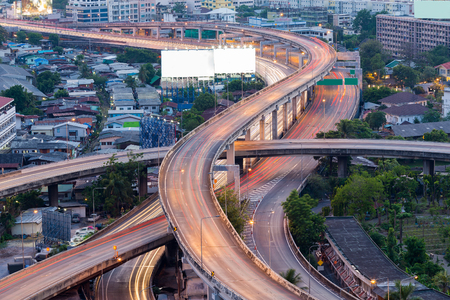 Long exposure, Highway interchanged in city downtown, Bangkok Thailand
