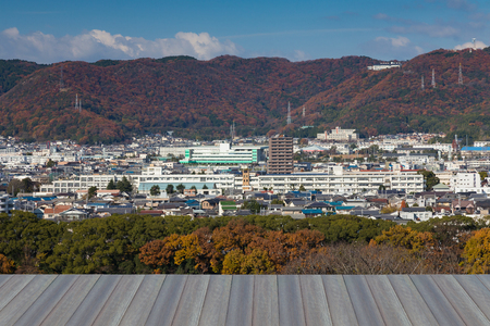 Opening wooden floor, Himaji city downtown view from Hemaji Castel with mountain background during Autumn season
