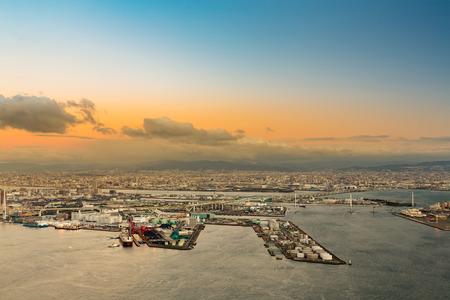 Osaka Bucht Luftbild vom Cosmo Turm in Osaka, Japan