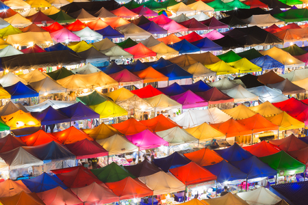 Beauty of multiple colours city night market roof top