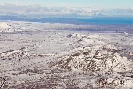 Top view, Iceland land snow covered during winter season, natural landscape background