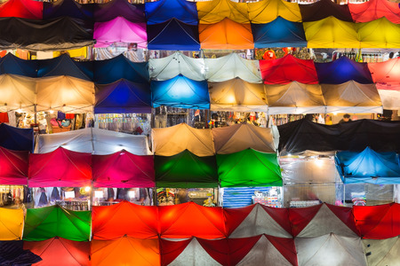 Night market multiple colour roof top, close up Stock Photo