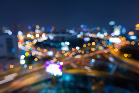 Blurred lights highway interchanged aerial view, abstract background