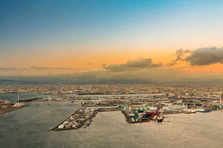 Aerial view of Osaka bay from the Cosmo tower at Osaka, Japan