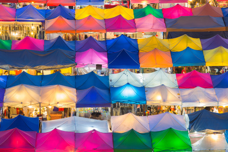 Colourful city night market top view