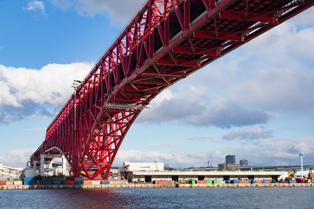 Rote Brücke, Minato Brücke über Osaka Seehafen, Japan