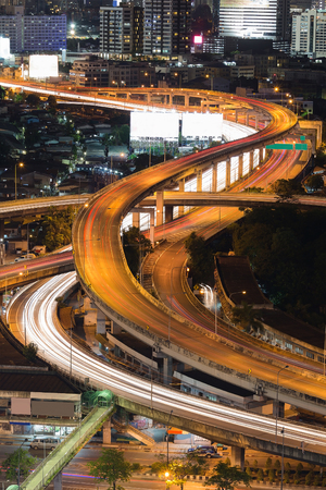 Close up highway interchanged long exposure night view Stock Photo