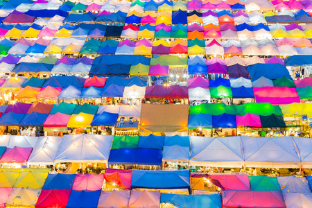 Night market multiple color roof top, weekend market top view Stock Photo