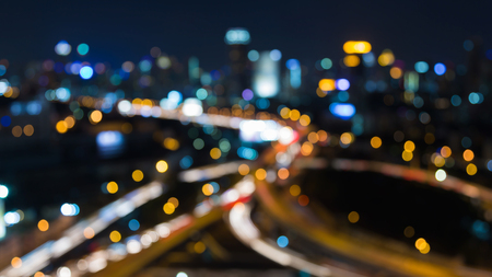 interchanged: Aerial view blurred bokeh light city and interchanged, abstract background