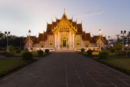 Marble Temple called Wat Benchamabophit Dusitvanaram Temple , Bangkok Thailand landmark