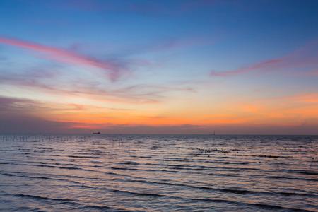 Beauty of sunset sky over coastline, natural landscape background