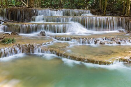 Huay Mae Ka Min waterfall in national park of Thailand, natural landscape background