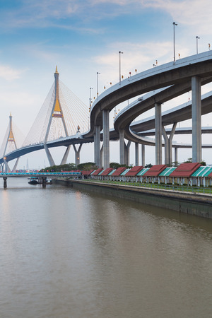 Twin suspension bridge river side connect to highway interchanged, Bangkok Thailand