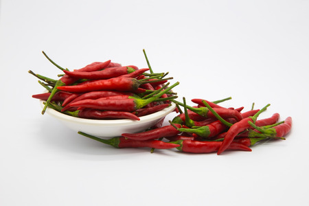 Red hot chilli on White background, isolate object background Stock Photo