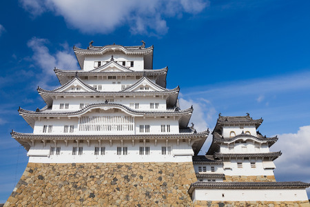 Himeji castle with blue sky background in Kansai Japan, A UNESCO world heritage site.