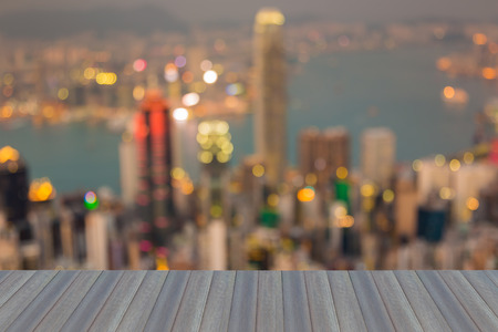 source of light: Opening wooden floor, city business downtown blurred bokeh light aerial view, abstract background