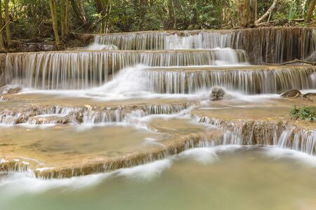 Natural deep topical forest waterfall, natural landscape background Stock Photo