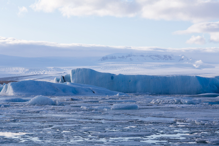 Jakulsarlon glacier iceberg, Iceland winter season landscape background