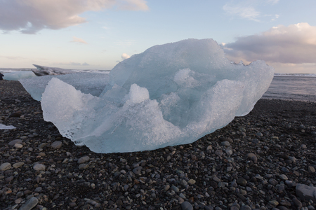 icefjord: Ice breaking from glacier over black rock beach, Iceland winter season natural landscape