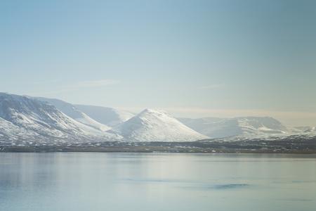 Beautiful Iceland winter season natural mountain landscape background