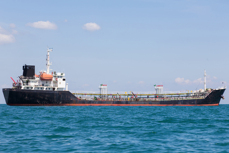 Transportation ship in ocean skyline, Oil transportation logistic boat