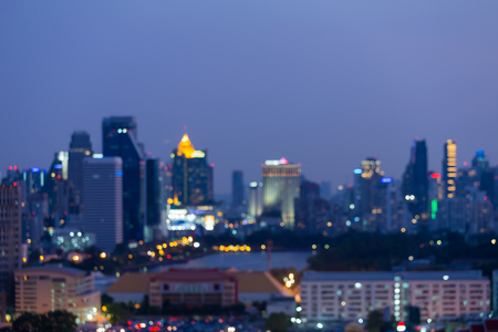 Bangkok city blurred bokeh light central business downtown, abstract background Stok Fotoğraf