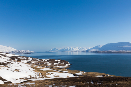 Iceland winter season natural landscape with clear blue sky background Stock Photo