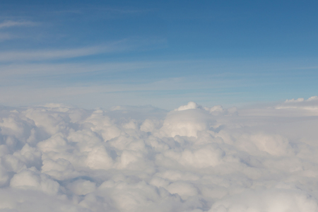 nautral: White soft cloud over blue skyline background, nautral landscape