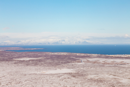 Natural aerial view Iceland landscape with clear blue sky background